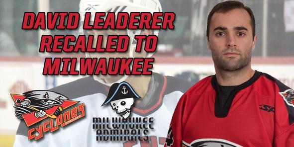 Defenseman David Leaderer Recalled to Milwaukee