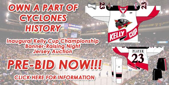 Cyclones Announce Participation in Inaugural ECHL Kelly Cup Banner Raising Jersey Auction