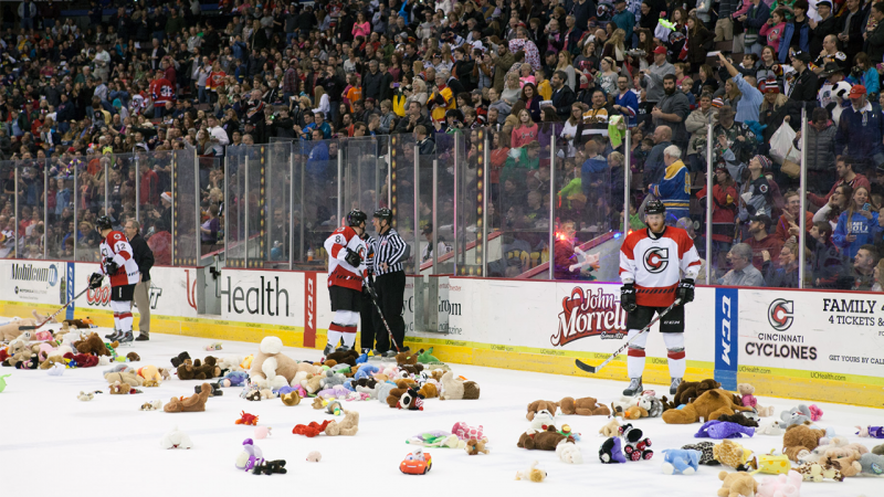 Cyclones Teddy Bear Toss Garners More than 3,600 Stuffed Toys