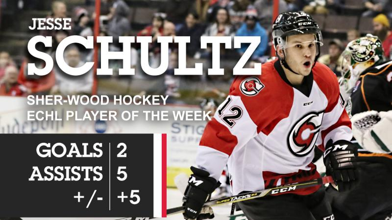 SCHULTZ EARNS ECHL WEEKLY HONOR