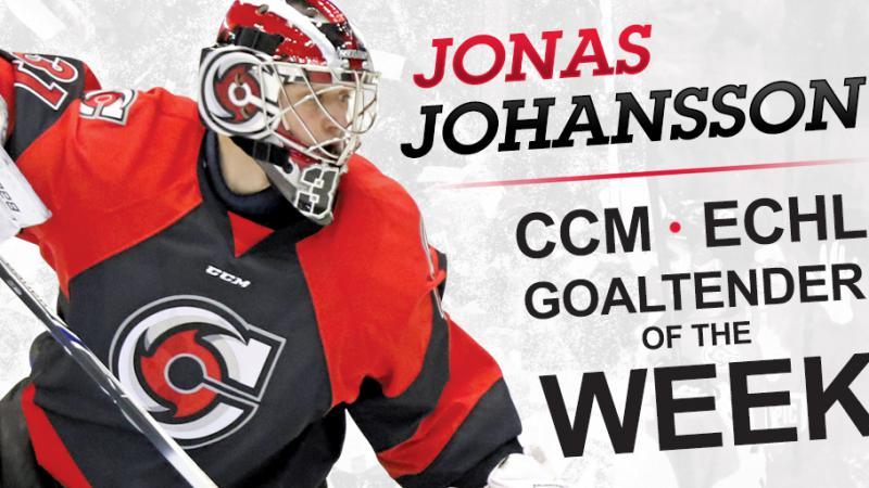 JOHANSSON NAMED CCM ECHL GOALTENDER OF THE WEEK