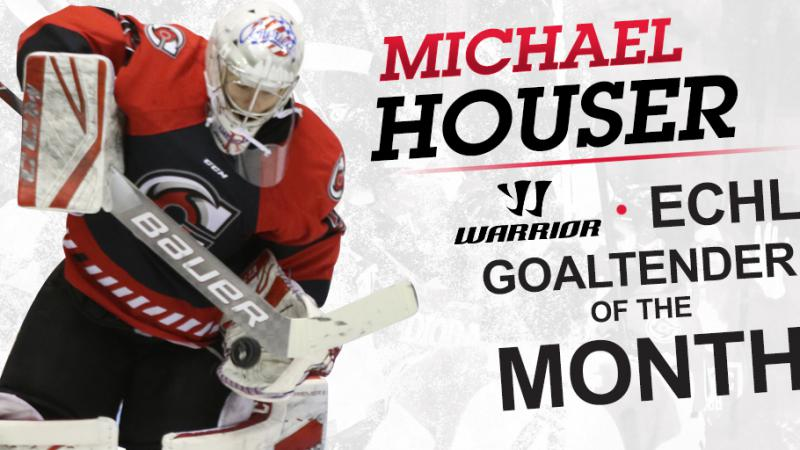HOUSER NAMED WARRIOR HOCKEY ECHL GOALTENDER OF THE MONTH