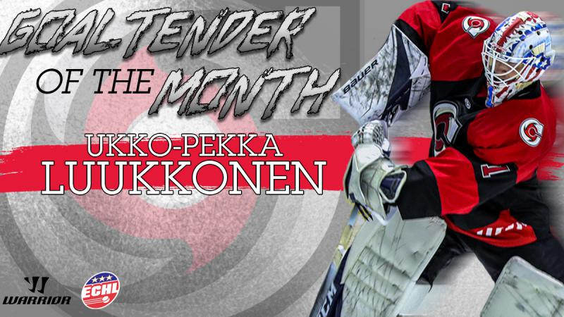 LUUKKONEN NAMED ECHL GOALTENDER OF THE MONTH