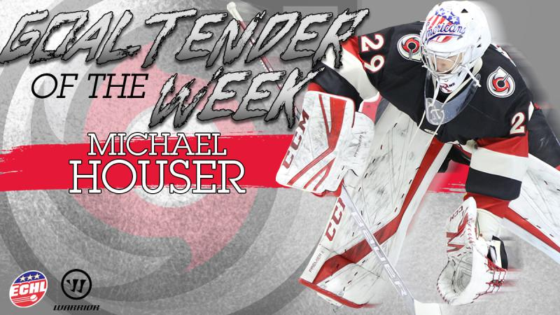 HOUSER NAMED ECHL GOALTENDER OF THE WEEK