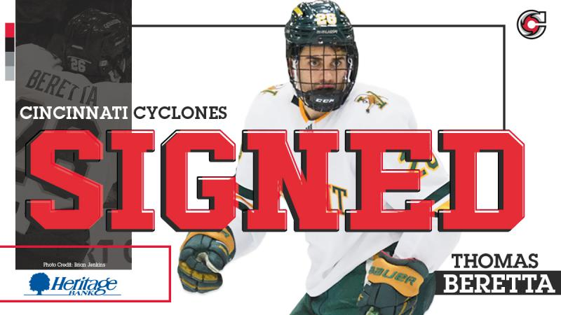 Cyclones Ink Rookie Forward Thomas Beretta
