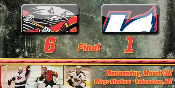 Conacher's Hat Trick Lifts Cyclones Past Wings, 6-1