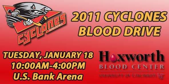 Cyclones, Hoxworth Partner for 2011 Blood Drive