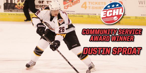 Dustin Sproat Earns ECHL's 2011 Community Service Award