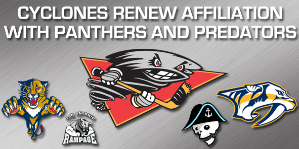 Cyclones Extend Affiliation Agreement with Florida Panthers and Nashville Predators