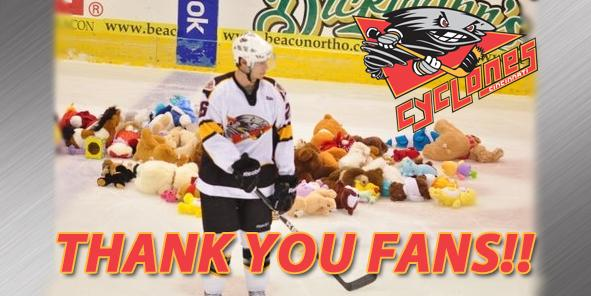 Cyclones Fans Give Back This Holiday Season for Teddy Bear Toss