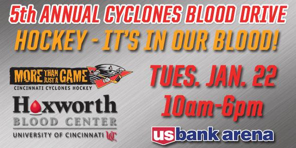 Cyclones Partner With Hoxworth Blood Center For Fifth Annual Blood Drive